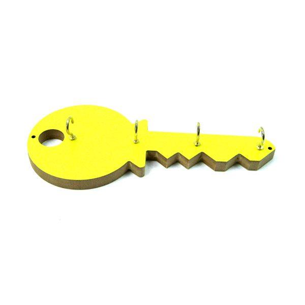 Cuelgallaves llave moderna amarilla