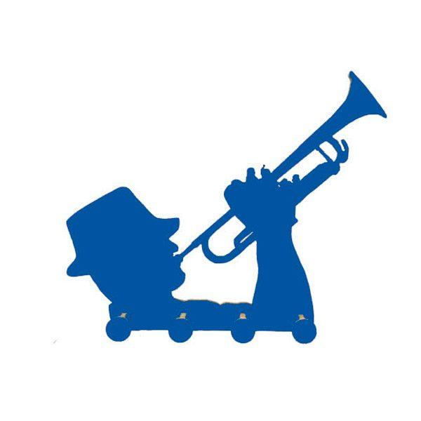 Perchero trompetista azul