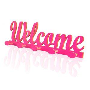 Perchero Welcome rosa